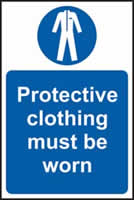 Protective clothing must be worn sign 1mm rigid plastic 400 x 600mm