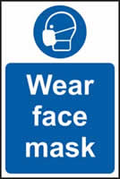 Wear face mask sign 1mm rigid plastic 200 x 300mm