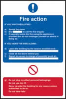Fire action procedure self-adhesive vinyl 200 x 300mm