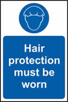 Hair protection must be worn sign 1mm rigid plastic 200 x 300mm