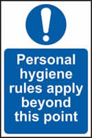 Personal hygiene rules apply beyond this point self-adhesive vinyl 200 x 300mm