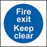 Fire exit keep clear self-adhesive vinyl 200 x 200mm