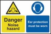 Caution Noise hazard Ear protection must be worn - 1mm rigid pvc 200 x 300mm