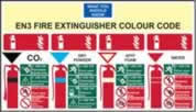 EN3 Fire Extinguisher Colour Chart sign 1mm rigid plastic 350 x 200mm