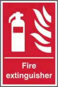 Fire extinguisher sign 1mm rigid plastic 200 x 300mm