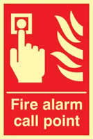 Fire alarm call point - Photoluminescent 200 x 300mm