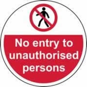 400 mm diameter No entry to unauthorised persons Floor Graphic