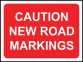 1050 x 750 mm �Temporary Sign - Caution New road markings