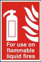 For use on all flammable liquid fires sign 1mm rigid PVC self-adhesive backing 200 x 300mm