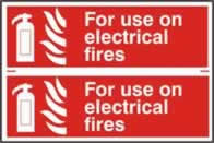 For use on electrical fires sign 1mm rigid PVC self-adhesive backing 300 x 200mm
