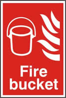 Fire bucket sign 1mm rigid PVC self-adhesive backing 200 x 300mm