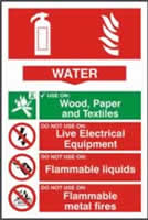 Fire extinguisher composite sign Water sign 1mm rigid PVC self-adhesive backing 200 x 300mm