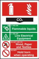 Fire extinguisher composite sign CO2 sign 1mm rigid PVC self-adhesive backing 200 x 300mm