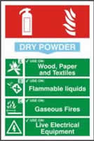 Fire extinguisher composite sign Dry powder sign 1mm rigid PVC self-adhesive backing 200 x 300mm