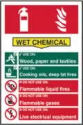 Fire extinguisher composite sign Wet chemical sign 1mm rigid PVC self-adhesive backing 200 x 300mm