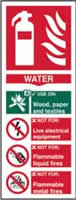 Fire extinguisher composite sign Water sign 1mm rigid PVC self-adhesive backing 75 x 200mm