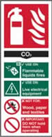 Fire extinguisher composite sign CO2 sign 1mm rigid PVC self-adhesive backing 75 x 200mm