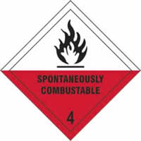 Spontaneously Combustable 4 - s/a vinyl - Diamond 200 x 200mm label made from self-adhesive vinyl
