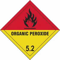 Organic Peroxide 5.2 - s/a vinyl - Diamond 200 x 200mm label made from self-adhesive vinyl