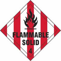 Flammable Solid 4 - s/a vinyl - Diamond 200 x 200mm label made from self-adhesive vinyl