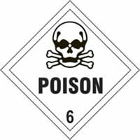 Poison 6 - s/a vinyl - Diamond 200 x 200mm label made from self-adhesive vinyl