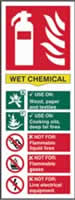 Fire extinguisher composite sign Wet chemical sign 1mm rigid PVC self-adhesive backing 75 x 200mm