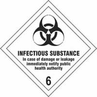 Infectious Substance 6 - s/a vinyl - Diamond 100 x 100mm label made from self-adhesive vinyl