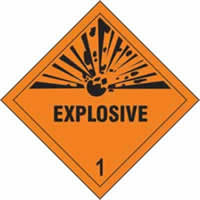 Explosive 1 - s/a vinyl - Diamond 200 x 200mm label made from self-adhesive vinyl