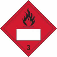 Flammable 3 Symbol - s/a vinyl - Placard 250 x 250mm label made from self-adhesive vinyl