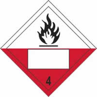 Flammable 4 Symbol - s/a vinyl - Placard 250 x 250mm label made from self-adhesive vinyl