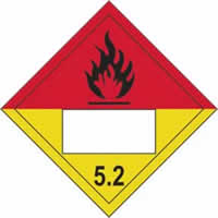 Flammable 5.2 Symbol - s/a vinyl - Placard 250 x 250mm label made from self-adhesive vinyl