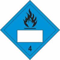 Flammable 4 Symbol Blue - s/a vinyl - Placard 250 x 250mm label made from self-adhesive vinyl