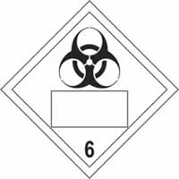 Biohazard 6 Symbol - s/a vinyl - Placard 250 x 250mm label made from self-adhesive vinyl