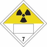 Radioactive 7 Symbol - s/a vinyl - Placard 250 x 250mm label made from self-adhesive vinyl