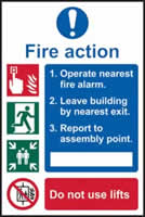 Fire action procedure sign 1mm rigid plastic 200 x 300mm