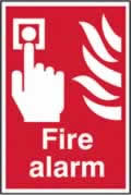 Fire alarm sign 1mm rigid PVC self-adhesive backing 200 x 300mm