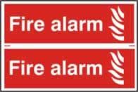 Fire alarm sign 1mm rigid PVC self-adhesive backing 300 x 200mm