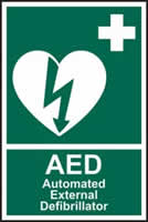 Automated external defibrillator AED rigid 1mm plastic PVC 200 x 300mm 3mm rigid plastic sign