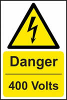Danger 400 volts - s/a vinyl - 200 x 300mm label made from self adhesive vinyl