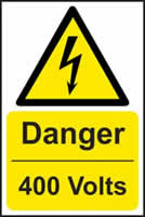 Danger 400 volts - s/a vinyl - 400 x 600mm label made from self adhesive vinyl