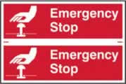 Emergency stop sign 1mm rigid PVC self-adhesive backing 300 x 200mm
