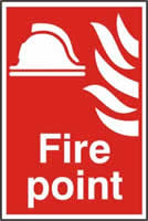 Fire point sign 1mm rigid PVC self-adhesive backing 200 x 300mm