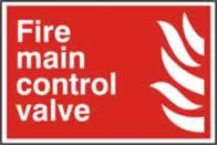 Fire main control valve sign 1mm rigid PVC self-adhesive backing 300 x 200mm