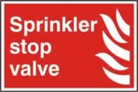 Sprinkler stop valve sign 1mm rigid PVC self-adhesive backing 300 x 200mm