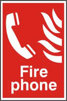 Fire phone sign 1mm rigid PVC self-adhesive backing 200 x 300mm