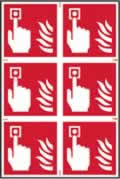 Fire alarm symbol sign 1mm rigid PVC self-adhesive backing 200 x 300mm