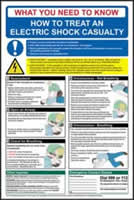 Safety Poster - Electric Shock - rigid plastic sign - 400 x 600mm