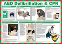 Safety Poster - AED defibrilation and CPR - LAM 590 x 420mm