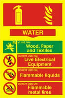 Fire extinguisher composite - Water - PHO 200 x 300mm 1.3 mm rigid Photoluminescent s/a board