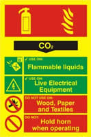 Fire extinguisher composite - CO2 - PHO 200 x 300mm 1.3 mm rigid Photoluminescent s/a board